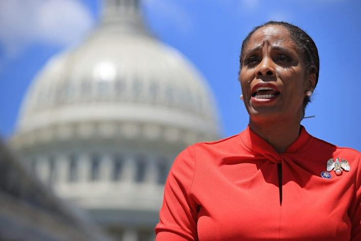 Del. Stacey Plaskett (D-VI) speaks during a news conference with fellow New Democrat Coalition members outside the U.S. Capitol on May 19, 2021 in Washington, DC. (Photo by Chip Somodevilla/Getty Images)