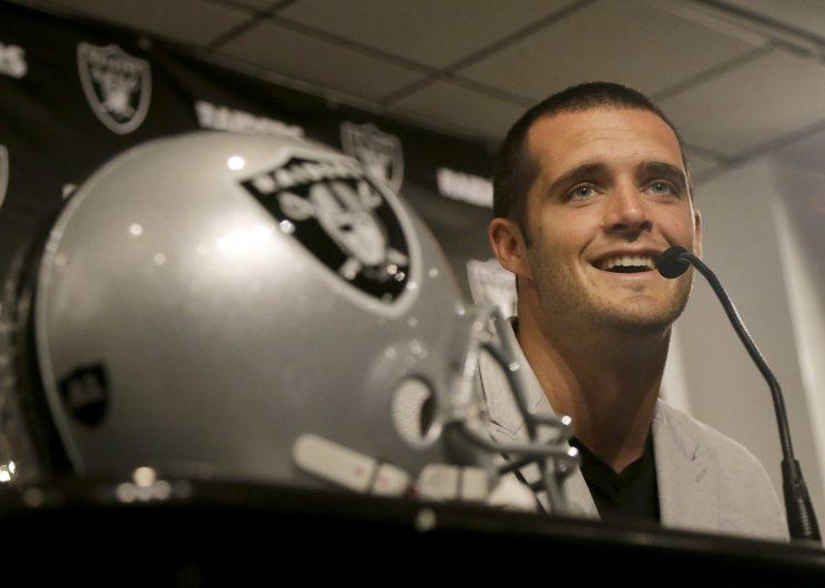 Derek Carr had some jokes about the Seahawks' Super Bowl XLIX play call. (AP)