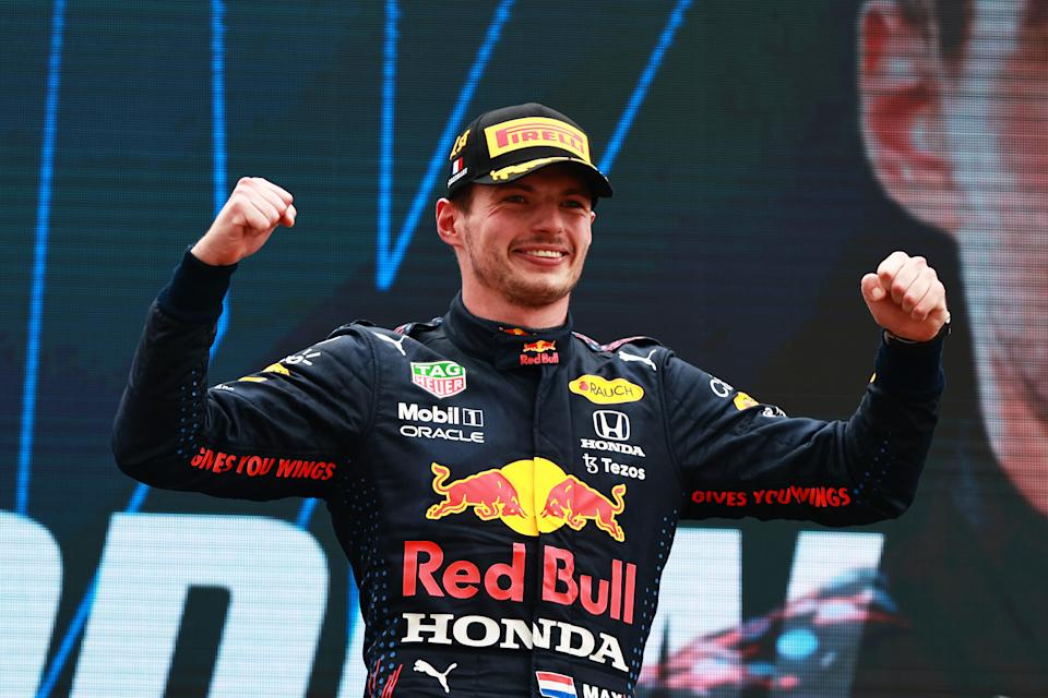 LE CASTELLET, FRANCE - JUNE 20: Race winner Max Verstappen of Netherlands and Red Bull Racing celebrates on the podium during the F1 Grand Prix of France at Circuit Paul Ricard on June 20, 2021 in Le Castellet, France. (Photo by Mark Thompson/Getty Images)