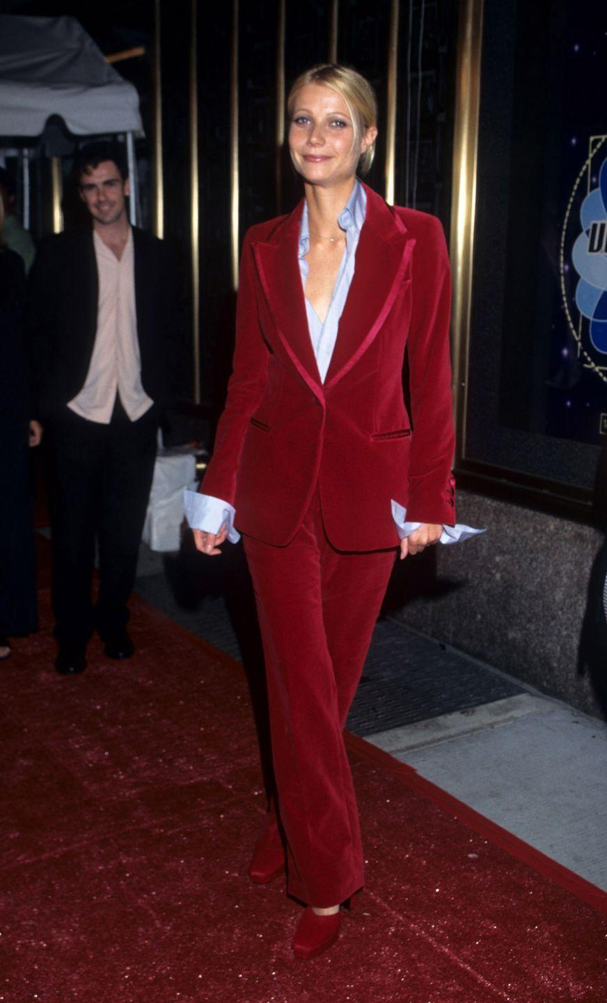 """<p>Most celebs opt for the """"less is more"""" philosophy when it comes to dressing for the MTV VMAs. Gwynnie opted for the """"more is more"""" train of thought in an oversized red velvet suit with matching shoes. Interesting choice.</p>"""