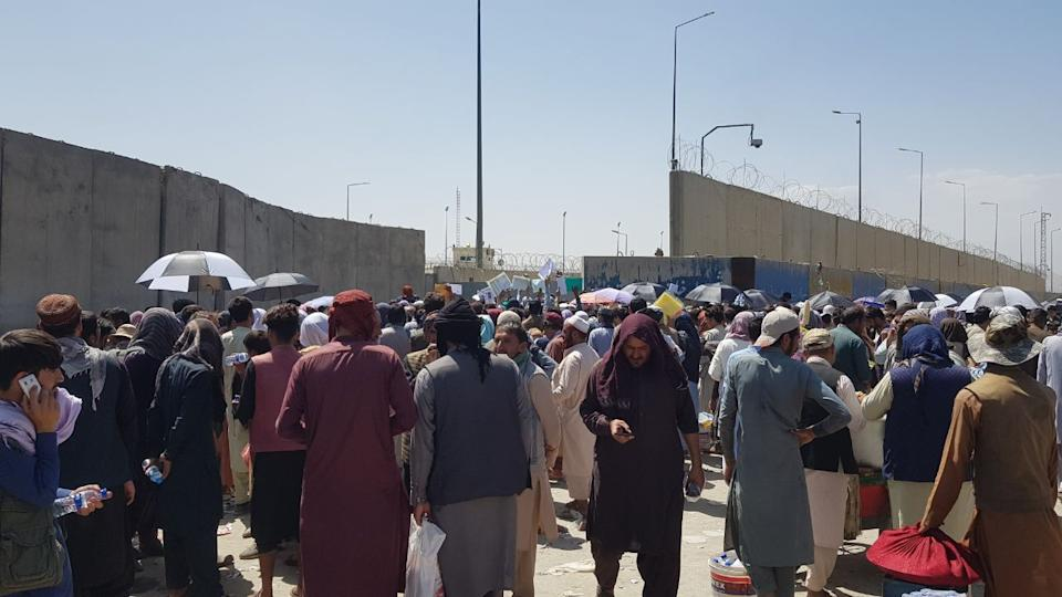 KABUL, AFGHANISTAN - AUGUST 24: People who want to flee the country continue to wait around Hamid Karzai International Airport in Kabul, Afghanistan on August 24, 2021. (Photo by Sayed Khodaiberdi Sadat/Anadolu Agency via Getty Images)