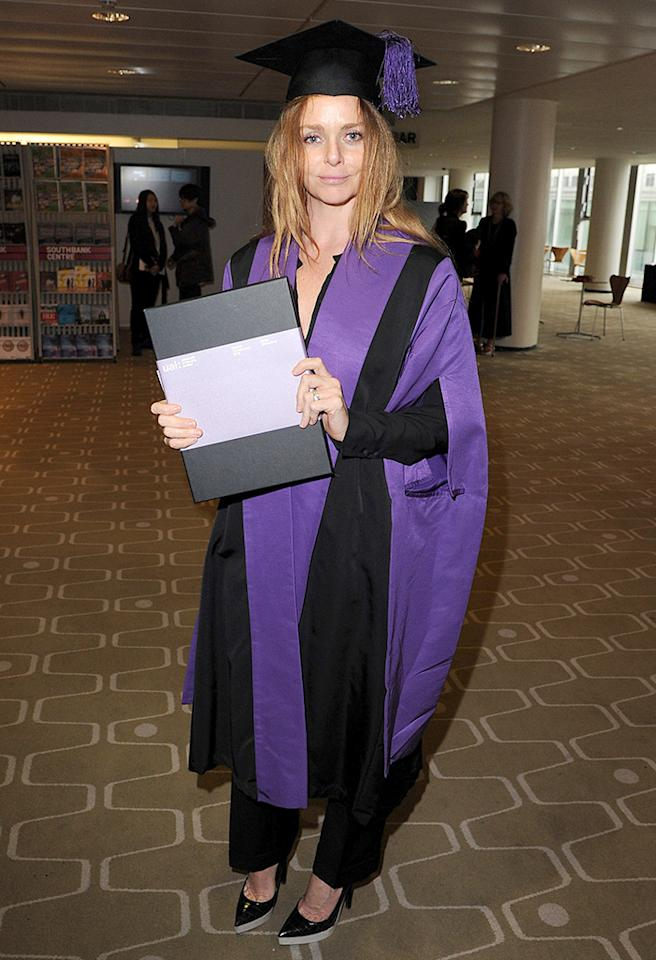 "<p class=""MsoNormal""><span style=""mso-fareast-font-family: 'Times New Roman'; mso-bidi-font-family: 'Times New Roman';"">Stella McCartney paired her purple-and-black cap and gown sky-high pumps. The famous fashion designer received an honorary degree from the University of the Arts London in 2012. (7/18/2012)</span></p>"