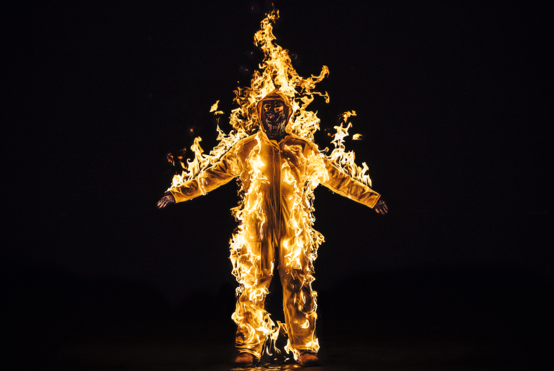 <i>Inextinguishable Fire</i> performance still from the National Theatre, London UK, Spill Festival of Performance 2015 (Cassils with Guido Mencari Courtesy the artist and Ronald Feldman Gallery New York)