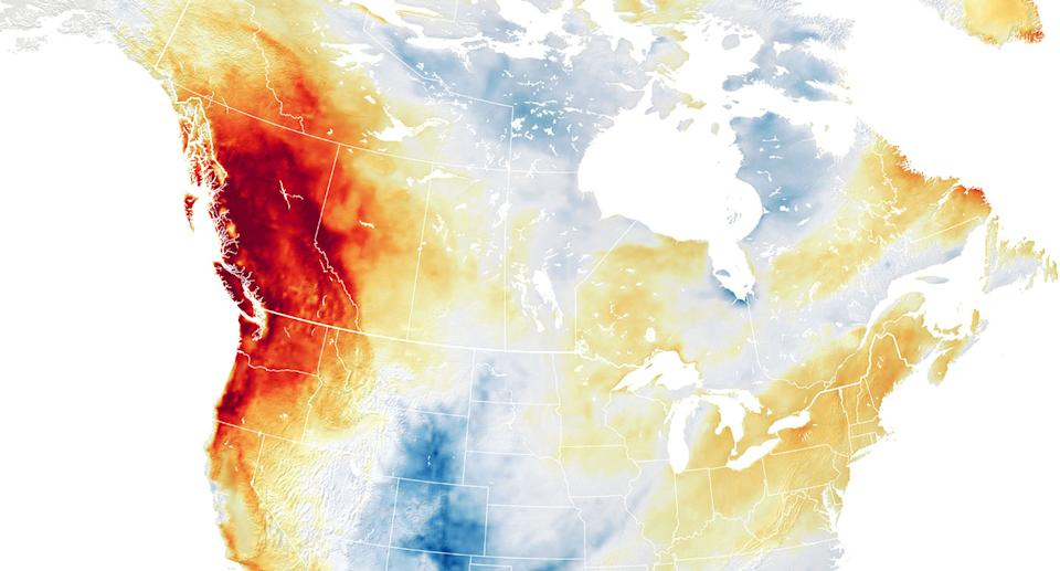 A weather map shows northwest US and British Columbia, Canada, going through a heatwave.