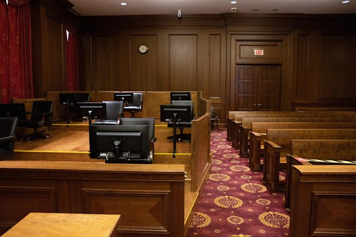 A reconfigured courtroom, with a raised platform at left for socially distanced jurors, at Federal District Court in lower Manhattan on March 31, 2021. (Caitlin Ochs/The New York Times)