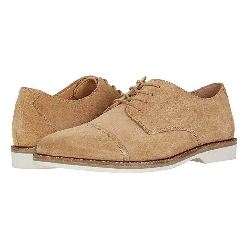 """<p><strong>Clarks</strong></p><p>zappos.com</p><p><strong>$70.12</strong></p><p><a href=""""https://go.redirectingat.com?id=74968X1596630&url=https%3A%2F%2Fwww.zappos.com%2Fp%2Fclarks-atticus-cap%2Fproduct%2F9251240&sref=https%3A%2F%2Fwww.menshealth.com%2Fstyle%2Fg19545927%2Fbest-dress-shoes%2F"""" rel=""""nofollow noopener"""" target=""""_blank"""" data-ylk=""""slk:BUY IT HERE"""" class=""""link rapid-noclick-resp"""">BUY IT HERE</a></p><p>The cap-toe is a sleek, timeless option to have in your dress shoe repertoire. This comfortable pair of Clarks combines the classic shape with its own signature suede, making it a great summertime dress shoe. </p>"""