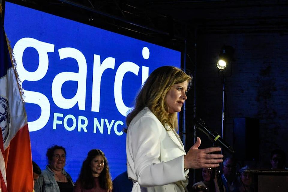 Mayoral candidate Kathryn Garcia delivers remarks to supporters on June 22, 2021, in the Bushwick neighborhood of New York City's Brooklyn borough.