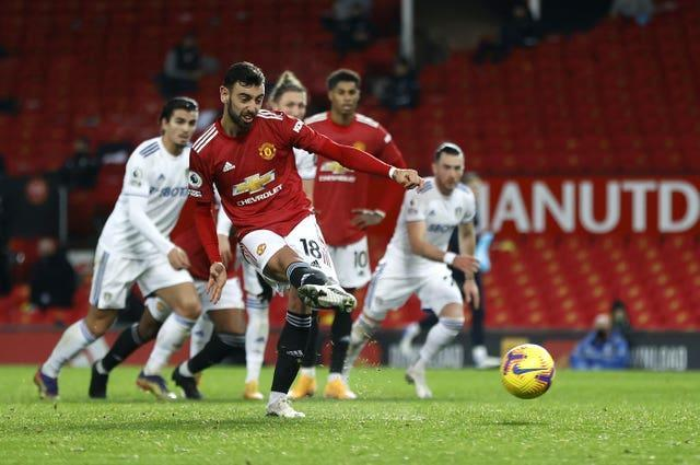 Bruno Fernandes converted Manchester United's sixth goal against Leeds in December from the penalty spot