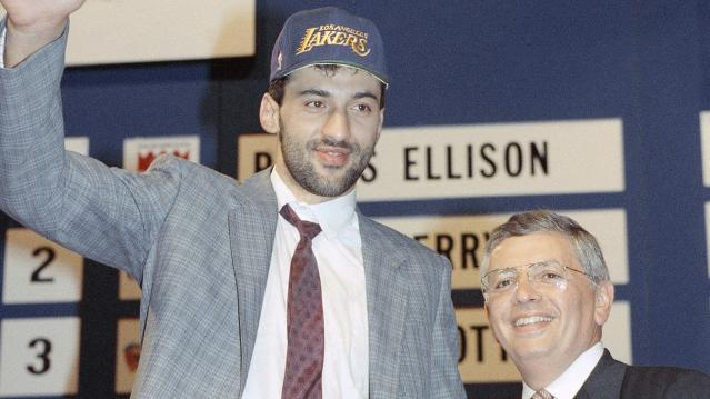 Vlade Divac stands with NBA commissioner David Stern after the Lakers took him in the 1989 NBA Draft