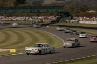 """<p>Even among amateurs, the racing is thrilling—the two leading ERAs in the <a href=""""https://www.youtube.com/watch?v=4Kmq3UreCag"""" rel=""""nofollow noopener"""" target=""""_blank"""" data-ylk=""""slk:Festival of Britain"""" class=""""link rapid-noclick-resp"""">Festival of Britain</a> put on a sensational show. And Cobras weren't the only Americans leading the way, this 1959 Ford Thunderbird driven by Englishman Bill Shepherd bringing some NASCAR to the <a href=""""https://www.youtube.com/watch?v=DjK_DubZf84"""" rel=""""nofollow noopener"""" target=""""_blank"""" data-ylk=""""slk:St. Mary's Trophy"""" class=""""link rapid-noclick-resp"""">St. Mary's Trophy</a>. Shepherd opened up his 7.0-liter V-8 to keep the smaller-displacement competitors behind on the straights. When turns came, Shepherd took everyone to the school of """"rubbing is racing,"""" flinging the T-Bird all over the tarmac to keep more nimble cars like the 1956 Austin A90, 1961 Alfa Romeo Giuliettta TI, and several Jaguar Mk 1s behind. And that's the only time we'll use """"nimble"""" and """"Jaguar Mk 1"""" in the same sentence.</p>"""