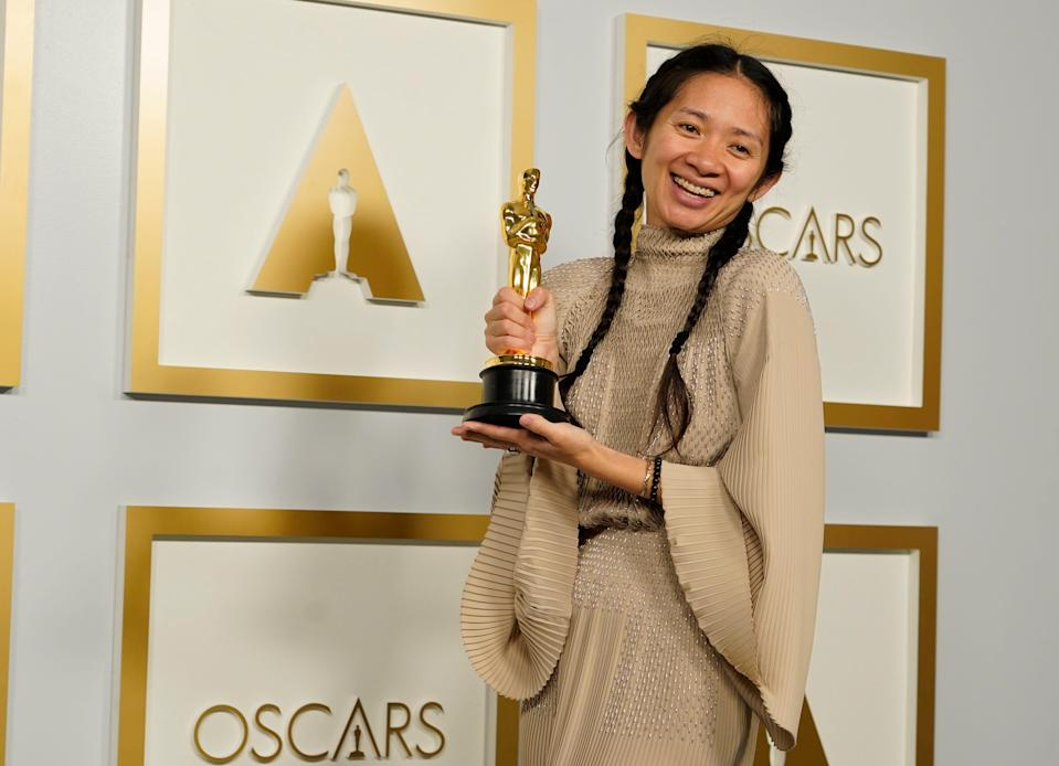 """Director/Producer Chloe Zhao wins the award for best director and best picture for """"Nomadland."""""""