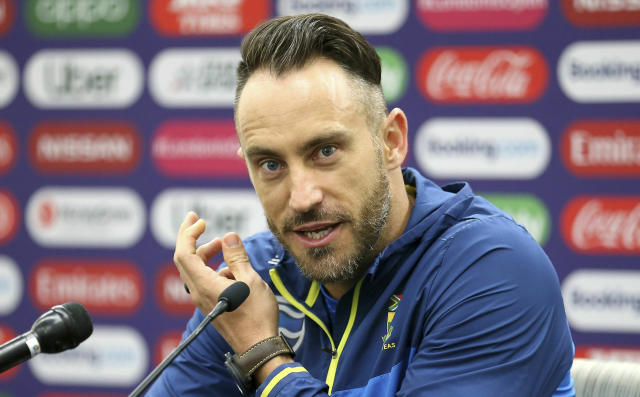 South Africa's Faf du Plessis speaks during a press conference at The Oval, London, Wednesday May 29, 2019 on the eve of the opening match of the Cricket World Cup. (Nigel French/PA via AP)
