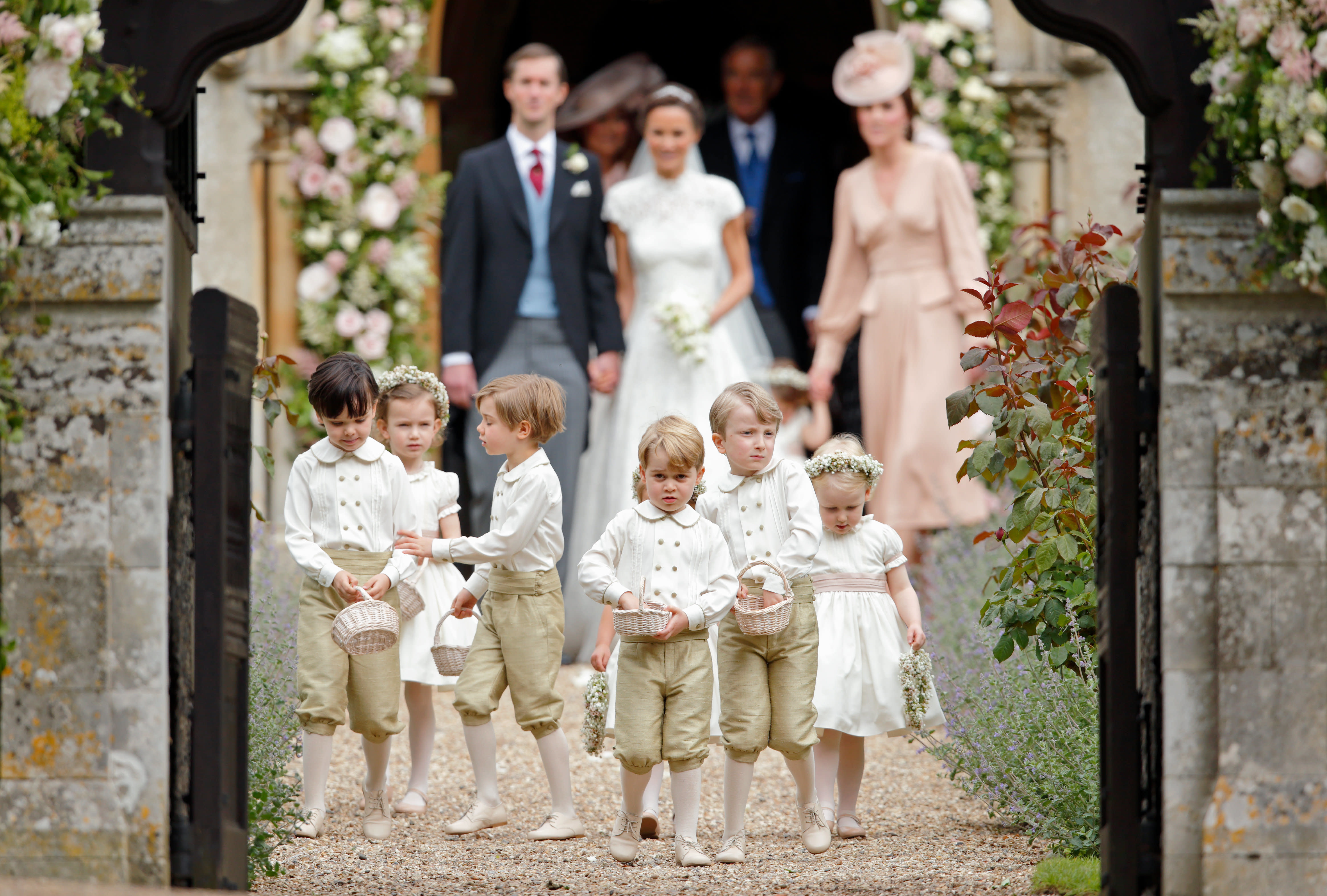 Prince George reporting for pageboy duty at his aunt Pippa Middleton's wedding in 2017. (Max Mumby/Indigo via Getty Images)