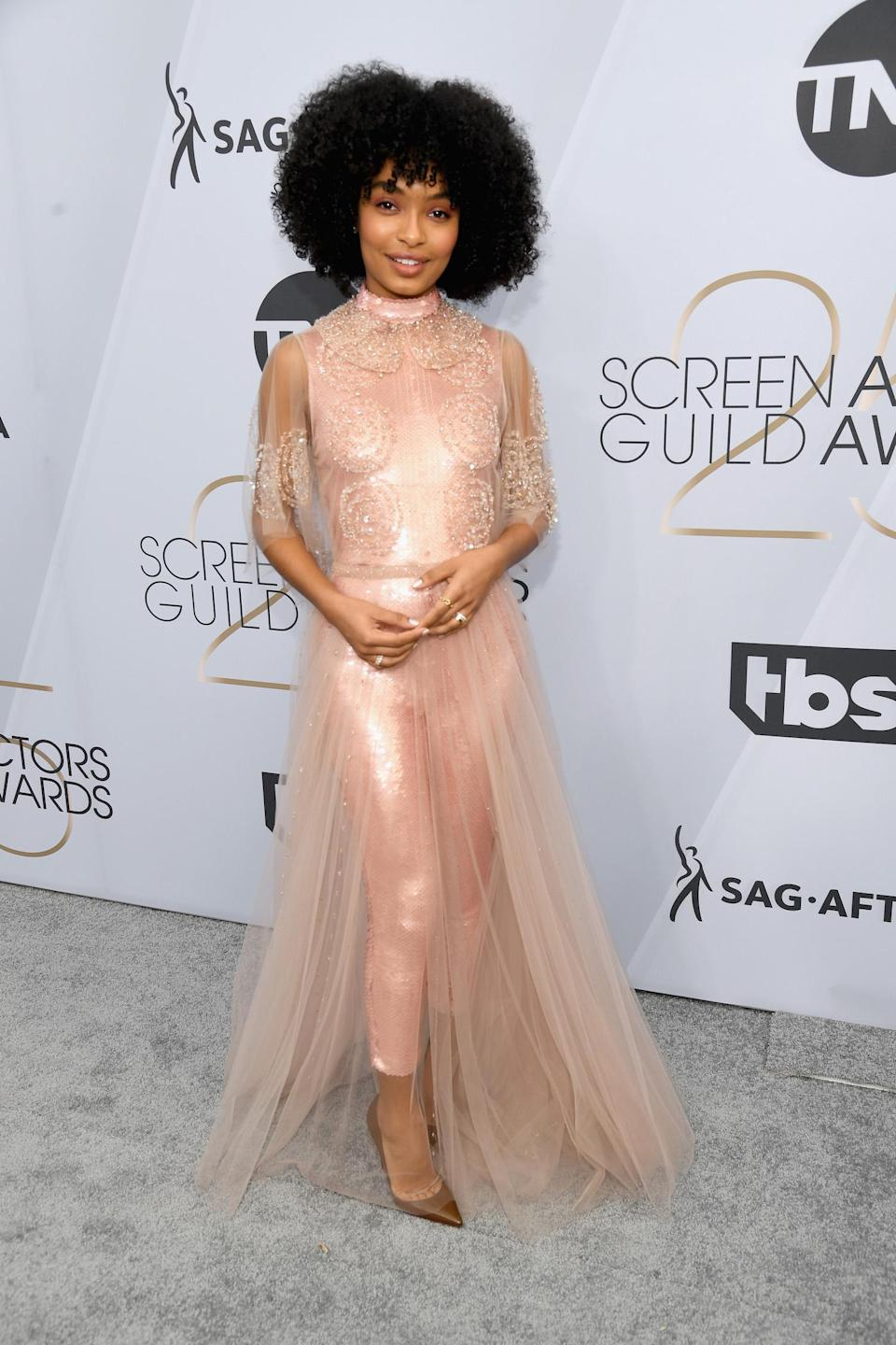 <p>Yara Shahidi charmed in a blush Fendi Couture design at the 2019 Screen Actors Guild Awards in Los Angeles. (Photo: Getty Images) </p>