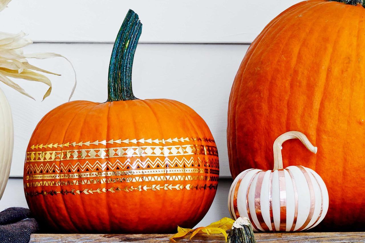 "<p>With fall quickly approaching, you'll want to get a head start on decorating the house with some fun, <a href=""https://www.womansday.com/home/decorating/g1279/easy-halloween-decorations/"" target=""_blank"">Halloween</a> and <a href=""https://www.womansday.com/home/decorating/g2600/fall-decorating-ideas/"" target=""_blank"">fall-themed decorations</a>. And whether you prefer displaying <a href=""https://www.womansday.com/home/crafts-projects/how-to/g2544/fall-wreaths/"" target=""_blank"">fall wreaths</a> or hanging fake spiderwebs, decorating for fall wouldn't be complete without some pumpkins.Carving pumpkins, however, can be too messy and dangerous if you don't know how to properly handle a carving hand saw. <br> <br>So why not skip out on the pumpkin clean-up this year and try some no-carve pumpkin decorating ideas? Not only are you going to keep your finger safe from pointy tools, but you can guarantee that your <a href=""https://www.womansday.com/home/crafts-projects/how-to/g303/10-pumpkin-perfect-patterns-20702/"" target=""_blank"">pumpkin decorations</a> will look flawless, even if you don't have a creative bone in your body. And the best part about these no-carve pumpkin decorating ideas is that you'll only need a pumpkin and a few inexpensive materials to bring them to life. <br> <br>From pumpkin spiders and haunted houses to glowing pumpkins and gnomes, these no-carve pumpkin decorating ideas will have your home ready for fall. <br></p>"