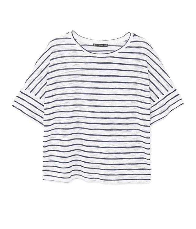 "<p>Striped T-Shirt, $20, <a href=""http://shop.mango.com/US/p0/women/clothing/t-shirts-and-tops/short-sleeve/striped-t-shirt?id=83013589_56&n=1&s=search"" rel=""nofollow noopener"" target=""_blank"" data-ylk=""slk:mango.com"" class=""link rapid-noclick-resp"">mango.com</a> </p>"