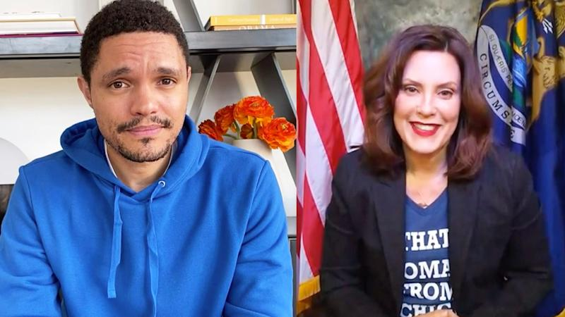 """Trevor Noah, left, interviews Gov. Gretchen Whitmer for an April 1, 2020, episode of Comedy Central's """"The Daily Show with Trevor Noah."""""""