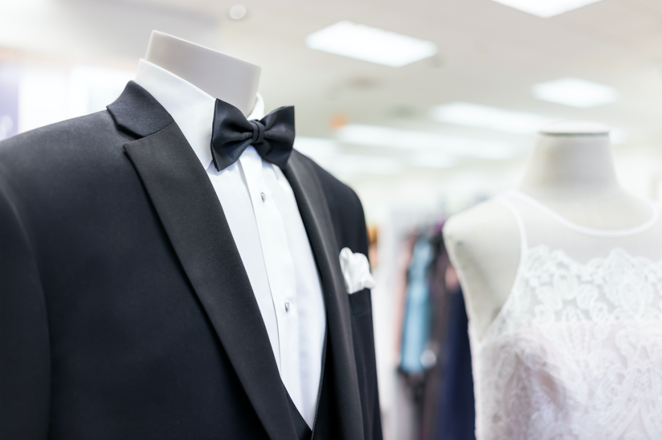 The bride's gown cost $600, while the groomsmen's tuxedos are $550 each. Photo: Getty