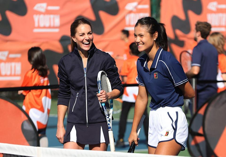 """<p>Tennis fan Kate joined some tennis royalty—US Open Champion Emma Raducanu—<a href=""""https://www.townandcountrymag.com/society/tradition/a37721234/kate-middleton-plays-tennis-with-us-open-champion-emma-raducanu-photos/"""" rel=""""nofollow noopener"""" target=""""_blank"""" data-ylk=""""slk:on the court for a doubles game"""" class=""""link rapid-noclick-resp"""">on the court for a doubles game</a> during a homecoming celebration for the tournament's British champions. Raducanu <a href=""""https://www.telegraph.co.uk/royal-family/2021/09/24/duchess-cambridge-meets-match-emma-raducanu-take-court-game/"""" rel=""""nofollow noopener"""" target=""""_blank"""" data-ylk=""""slk:reportedly described"""" class=""""link rapid-noclick-resp"""">reportedly described</a> the duchess's forehand as """"incredible."""" </p>"""