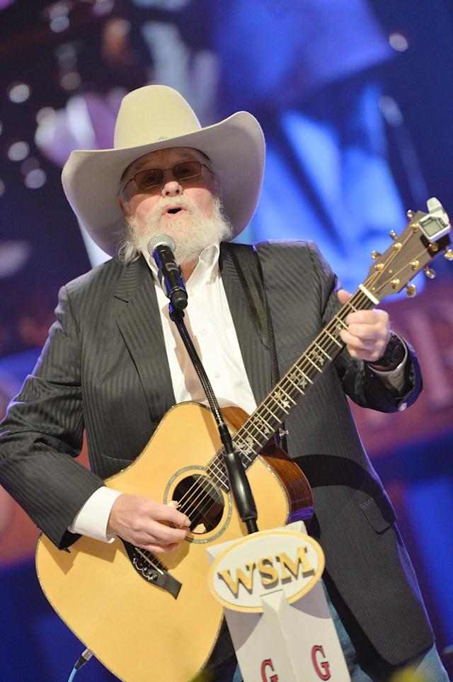 NASHVILLE, TN - MAY 02: (EXCLUSIVE COVERAGE) Country musician Charlie Daniels performs at the funeral service for George Jones at The Grand Ole Opry on May 2, 2013 in Nashville, Tennessee. Jones passed away on April 26, 2013 at the age of 81. (Photo by Rick Diamond/Getty Images for GJ Memorial)