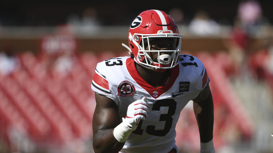 Georgia's Azeez Ojulari is off to a hot start in 2020. (AP Photo/Michael Woods)