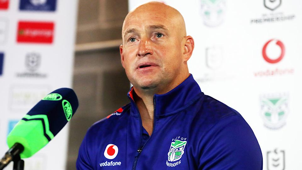Nathan Brown, pictured here speaking to the media after the Warriors' loss to the Dragons.