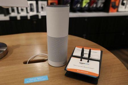 The amazon echo is seen on display at the Amazon Books store in the Time Warner Center at Columbus Circle in New York City New York