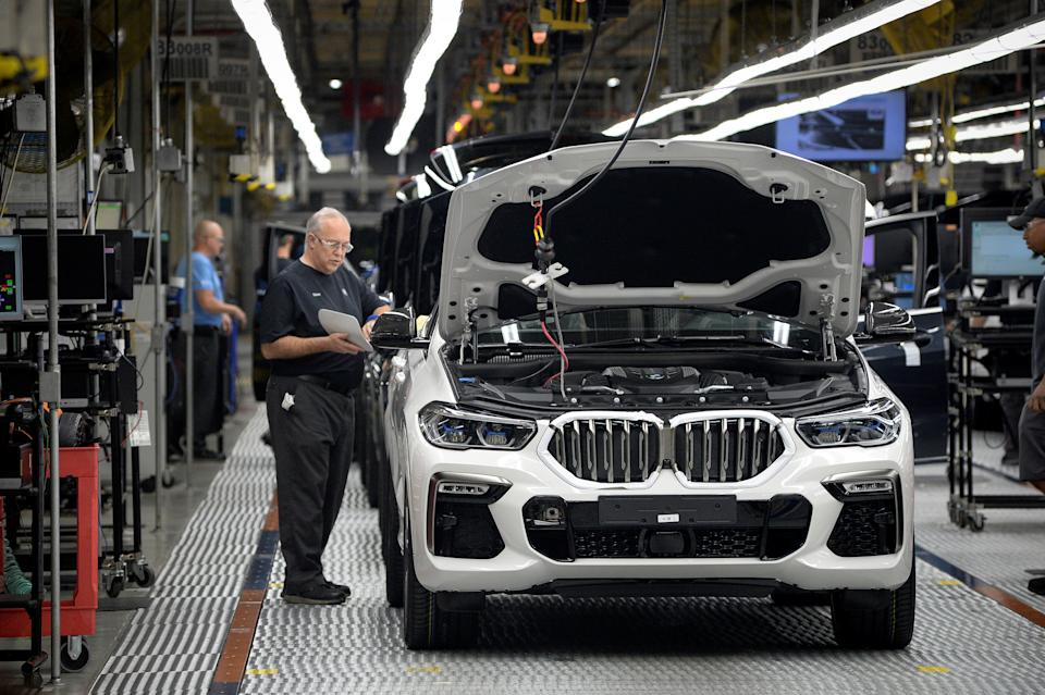 X model SUVs undergo final diagnostic testing at the BMW manufacturing facility in Greer, South Carolina, U.S. November 4, 2019.  REUTERS/Charles Mostoller