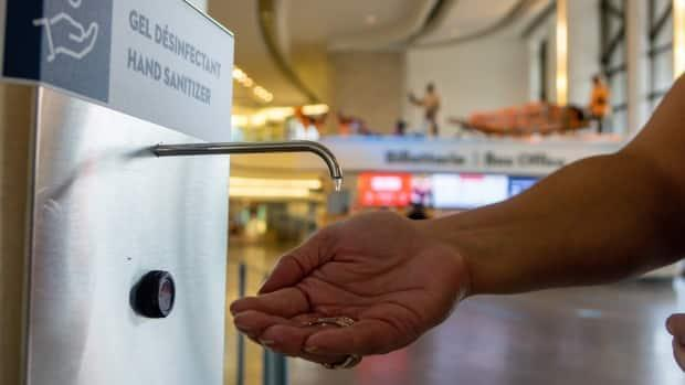Hand sanitizers greet visitors at the entrance to the Canadian Museum of History in Gatineau, Que. Museums in Ontario can reopen as of Friday under Step 3. (Jean Delisle/CBC - image credit)