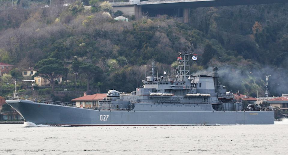 The Kondopoga, a Russian naval vessel, is on its way to the Black Sea.