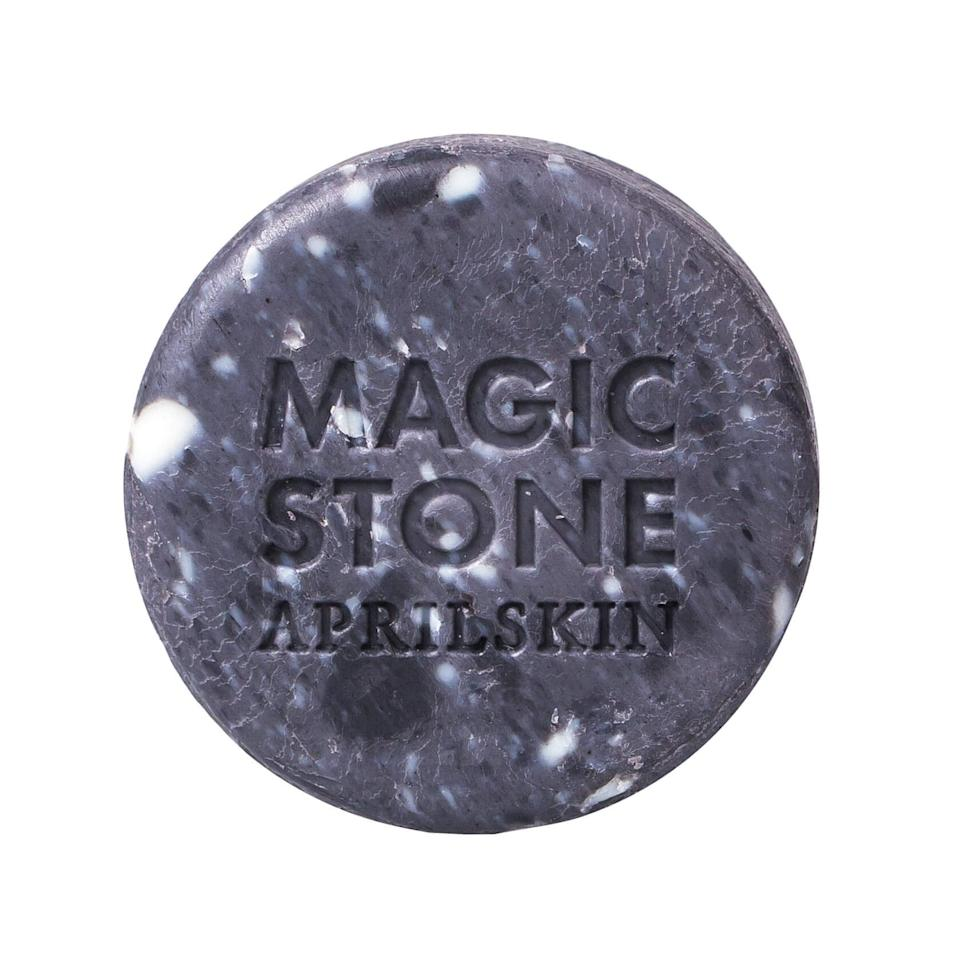 "<p>Well-loved in Korea, this ""magic stone"" is made with charcoal to degunk pores of dirt, oil, and other impurities; it's also spiked with hyaluronic acid to hydrate as it detoxes the skin. Magic, indeed.</p><p>$7 (<a rel=""nofollow"" href=""https://www.peachandlily.com/products/april-skin-magic-stone-gray?mbid=synd_yahoobeauty"">peachandlily.com</a>)</p>"