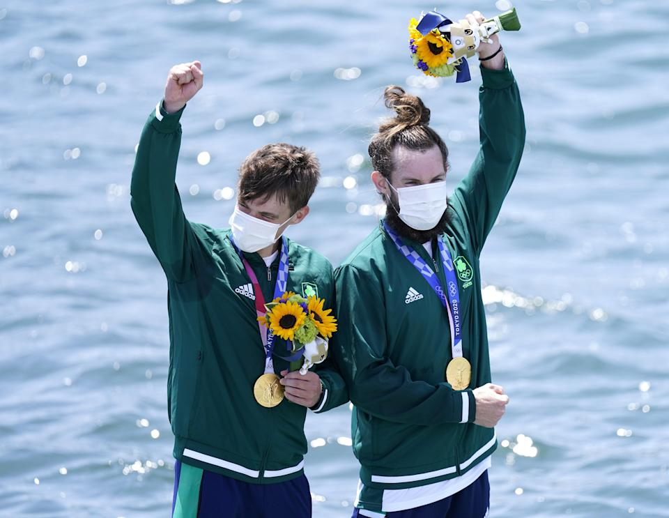 Ireland's Fintan McCarthy and Paul O'Donovan on the podium in Tokyo (Danny Lawson/PA) (PA Wire)