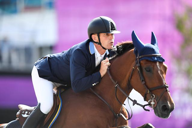 Equestrian - FEI European Championships 2017 - Jumping Individual Final - Ullevi Stadium, Gothenburg, Sweden - August 27, 2017 - Peder Fredricson of Sweden rides on his horse H&M All In. TT News Agency/Pontus Lundahl via REUTERS ATTENTION EDITORS - THIS IMAGE WAS PROVIDED BY A THIRD PARTY. SWEDEN OUT. NO COMMERCIAL OR EDITORIAL SALES IN SWEDEN
