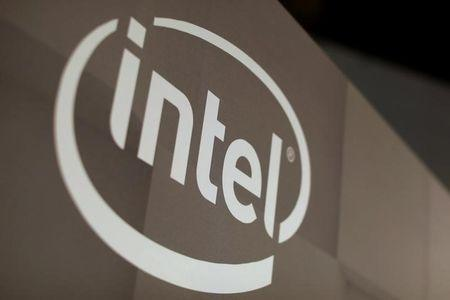 FILE PHOTO - The Intel logo is shown at the E3 2017 Electronic Entertainment Expo in Los Angeles