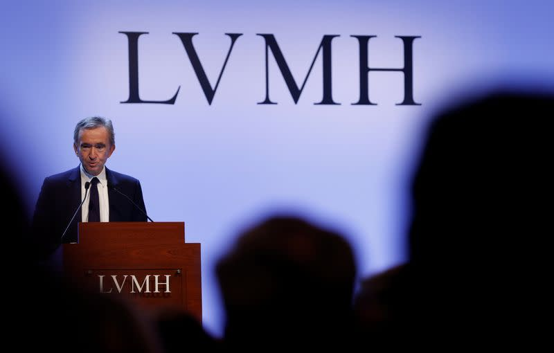 LVMH luxury group Chief Executive Bernard Arnault announces their 2019 results in Paris