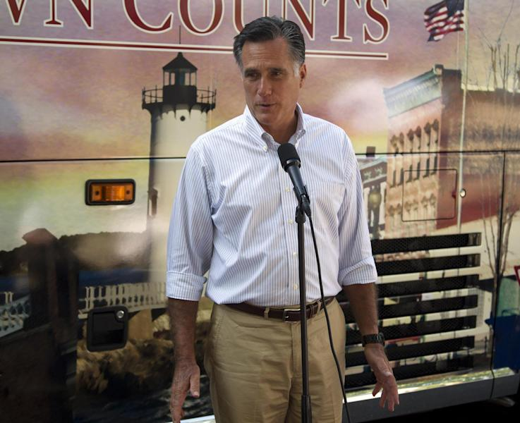 Republican presidential candidate, former Massachusetts Gov. Mitt Romney makes a statement on vice presidential vetting Tuesday, June 19, 2012 in Holland, Mich. (AP Photo/Evan Vucci)