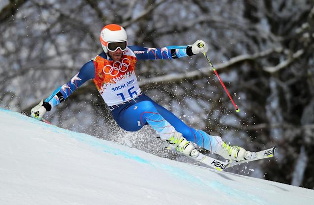 SOCHI, RUSSIA - FEBRUARY 19: Bode Miller of the United States in action during the Alpine Skiing Men's Giant Slalom on day 12 of the Sochi 2014 Winter Olympics at Rosa Khutor Alpine Center on February 19, 2014 in Sochi, Russia. (Photo by Clive Rose/Getty Images)