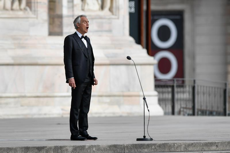 Andrea Bocelli is preparing for the Easter concert in an empty Duomo di Milano during Covid-19 pandemic in Milan, Italy on April 12, 2020. (Photo by Claudio Furlan/LaPresse/Sipa USA)