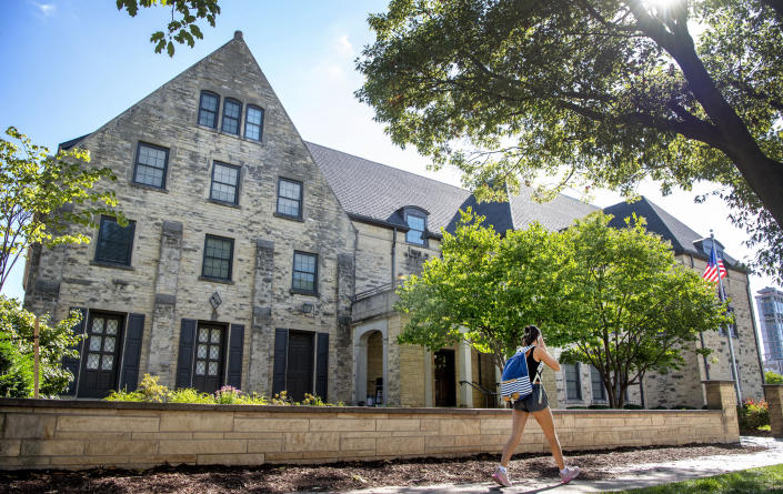 A student reported being sexually assaulted at the Phi Gamma Delta fraternity house at University of Nebraska-Lincoln seen on Wednesday, Aug. 25, 2021, in Lincoln, Neb. Chancellor Ronnie Green temporarily suspended the Fiji house on Aug. 25. Green told leaders of the university's student government on Wednesday the school is taking several steps to reduce sexual assaults and support victims, The Lincoln Journal Star reported. (Francis Gardler/Lincoln Journal Star via AP)
