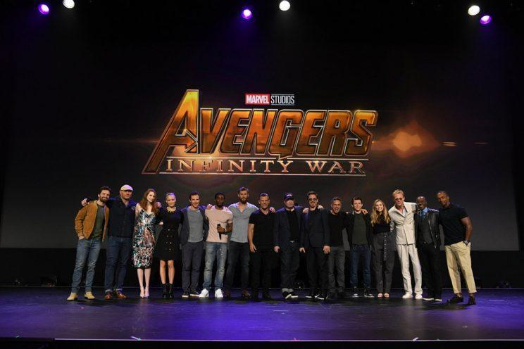 Sebastian Stan (Winter Soldier), Dave Bautista (Drax), Karen Gillan (Nebula), Pom Klementieff (Mantis), Benedict Cumberbatch (Dr. Strange), Chadwick Boseman (Black Panther), Chris Hemsworth (Thor), Josh Brolin (Thanos), Marvel Studios President Kevin Feige, Robert Downey Jr. (Iron Man), Mark Ruffalo (Bruce Banner/Hulk), Tom Holland (Spider-Man), Elizabeth Olsen (Scarlet Witch), Paul Bettany (Vision), Don Cheadle (War Machine), and Anthony Mackie (Falcon) crowd the stage at D23 Expo. (Photo: Disney)
