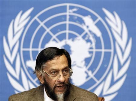 Pachauri, Chair of the IPCC, briefs the media on the Task Force on National Greenhouse Gas Inventories in Geneva