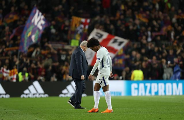 Soccer Football - Champions League Round of 16 Second Leg - FC Barcelona vs Chelsea - Camp Nou, Barcelona, Spain - March 14, 2018 Chelsea's Willian looks dejected after the match REUTERS/Susana Vera