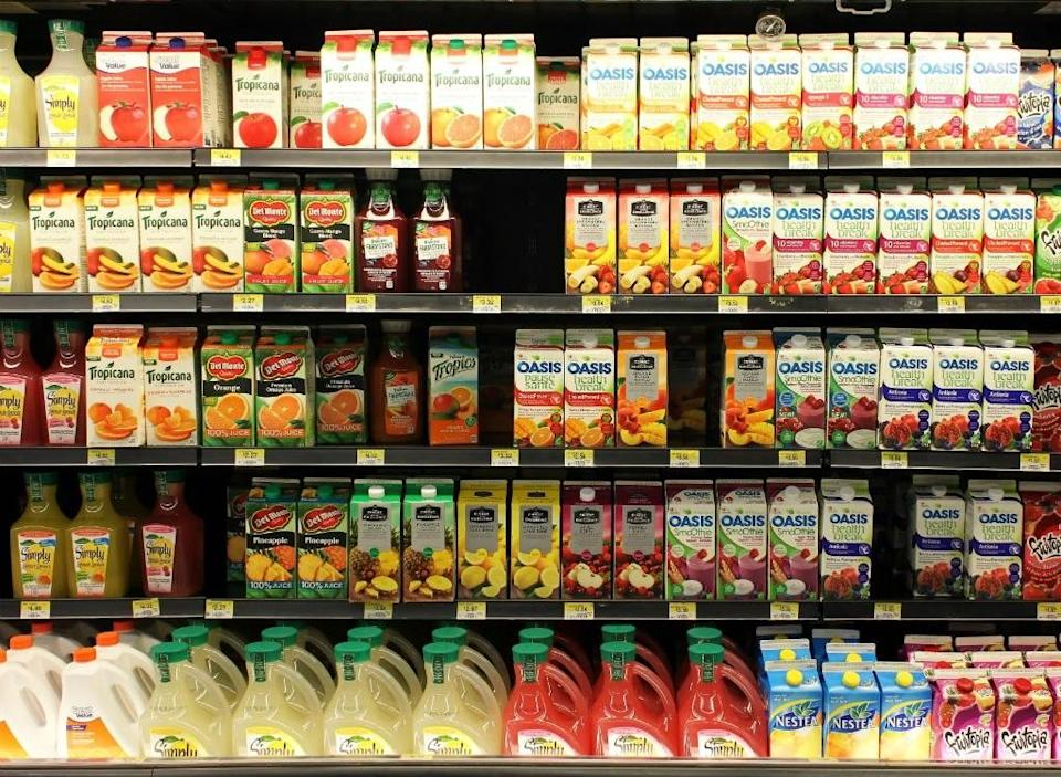 juice aisle of grocery store