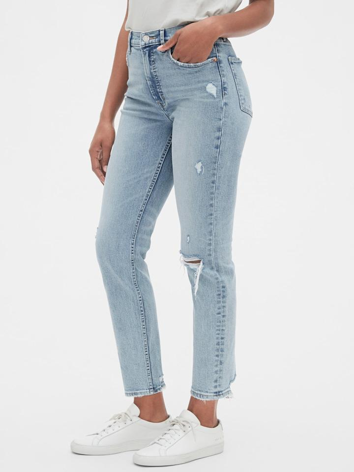 "<p>These <a href=""https://www.popsugar.com/buy/GAP-High-Rise-Distressed-Cigarette-Jeans-478720?p_name=GAP%20High%20Rise%20Distressed%20Cigarette%20Jeans&retailer=gap.com&pid=478720&price=80&evar1=fab%3Aus&evar9=46489263&evar98=https%3A%2F%2Fwww.popsugar.com%2Fphoto-gallery%2F46489263%2Fimage%2F46489265%2FGAP-High-Rise-Distressed-Cigarette-Jeans&list1=shopping%2Cfall%20fashion%2Cgap&prop13=api&pdata=1"" rel=""nofollow"" data-shoppable-link=""1"" target=""_blank"" class=""ga-track"" data-ga-category=""Related"" data-ga-label=""https://www.gap.com/browse/product.do?pid=495905002&amp;cid=8792&amp;pcid=8792&amp;grid=pds_0_138_1&amp;cpos=0&amp;cexp=1161&amp;cid=CategoryIDs%3D8792&amp;cvar=8262&amp;ctype=Listing&amp;cpid=res19081211494137791681167#pdp-page-content"" data-ga-action=""In-Line Links"">GAP High Rise Distressed Cigarette Jeans </a> ($80) include secret smoothing pockets.</p>"