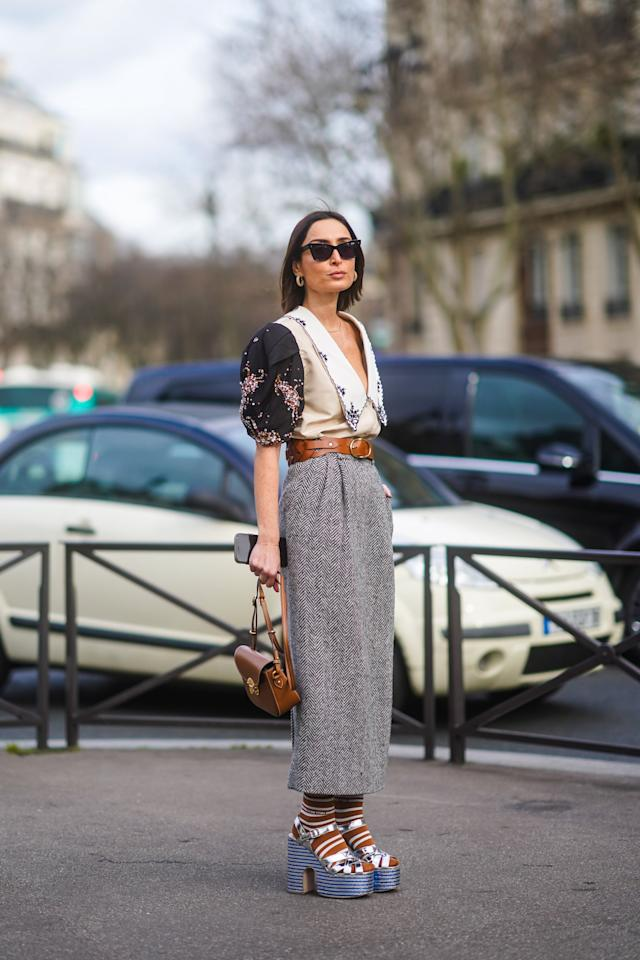 <p>For a quirky-polished look, try a pair of platforms with socks and style them with a long skirt and pretty blouse. </p>
