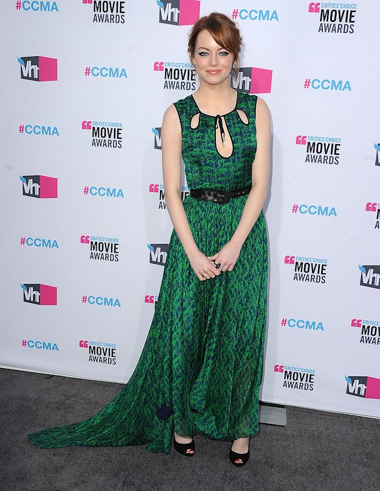 """<a href=""""http://movies.yahoo.com/movie/contributor/1809635883"""">Emma Stone</a> at the 17th Annual Critics' Choice Awards in Hollywood on January 12, 2012."""