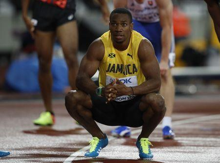 Athletics - World Athletics Championships – men's 200 metres semi-final – London Stadium, London, Britain – August 9, 2017 – Yohan Blake of Jamaica reacts. REUTERS/Phil Noble