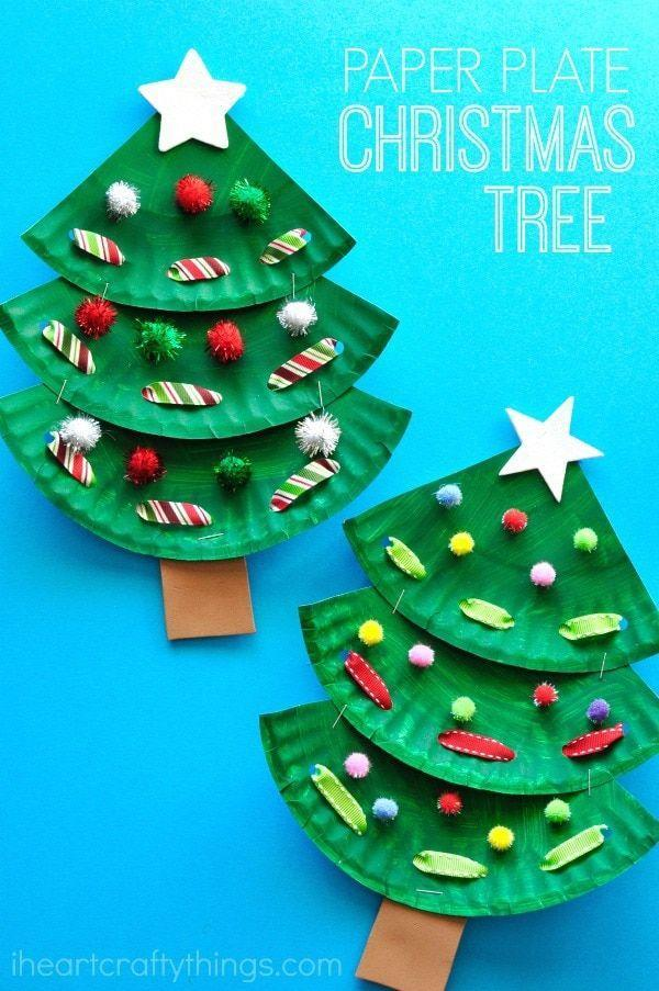 "<p>You'll soon find that you can make almost anything with paper plates. Just cut one into thirds and layer on top of one another. For the ornaments and garlands, use pom-poms and ribbons.</p><p><strong>Get the tutorial at <a href=""https://iheartcraftythings.com/paper-plate-laced-christmas-tree-craft.html"" rel=""nofollow noopener"" target=""_blank"" data-ylk=""slk:I Heart Crafty Things"" class=""link rapid-noclick-resp"">I Heart Crafty Things</a>.</strong></p><p><a class=""link rapid-noclick-resp"" href=""https://www.amazon.com/Apple-Barrel-22491E-Acrylic-Spring/dp/B07B4SRSB2/ref=sxin_2_ac_d_pm?tag=syn-yahoo-20&ascsubtag=%5Bartid%7C10050.g.5030%5Bsrc%7Cyahoo-us"" rel=""nofollow noopener"" target=""_blank"" data-ylk=""slk:SHOP GREEN PAINT"">SHOP GREEN PAINT</a></p>"