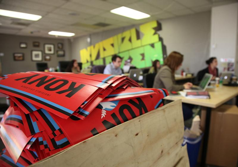 A box full to the brim with KONY 2012 campaign posters are shown Thursday March 8, 2012 at the Invisible Children Movement offices in San Diego. The workers are monitoring the social media impact of their KONY 2012 campaign. Joseph Kony and his Lord's Resistance Army, a brutal Central Africa militia that has kidnapped thousands of children and forced them to become sex slaves, fight as child soldiers and kill family members during a 26-year campaign of terror. The KONY 2012 project is an effort to stop Joseph Kony. (AP Photo/John Mone)