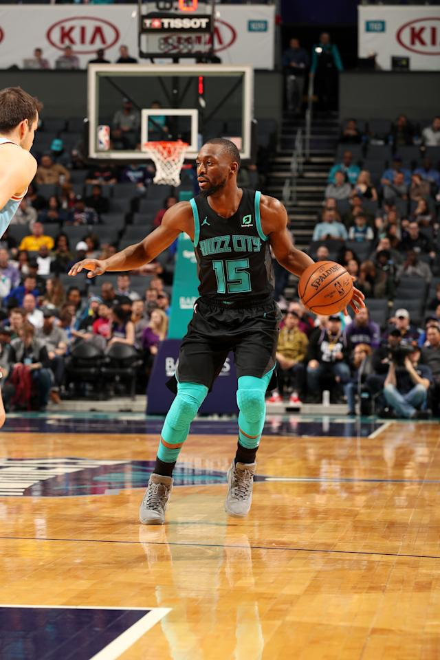CHARLOTTE, NC - JANUARY 17: Kemba Walker #15 of the Charlotte Hornets handles the ball against the Sacramento Kings on January 17, 2019 at Spectrum Center in Charlotte, North Carolina. (Photo by Kent Smith/NBAE via Getty Images)